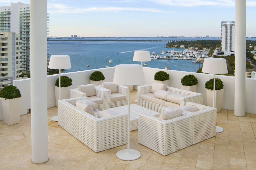 Patio overlooking Biscayne Bay.