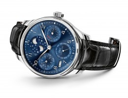 HANDOUT - The Portugieser Perpetual Calendar with a double moon (Ref. IW503401) from IWC Schaffhausen: case in 18-carat white gold, midnight blue dial and black alligator leather strap by Santoni with a folding clasp in 18-carat white gold. (PHOTOPRESS/IWC)